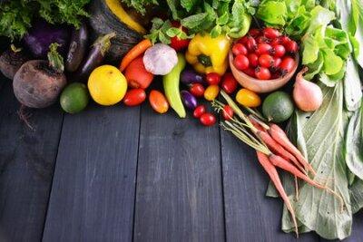 Fototapeta Fresh vegetables on wooden, Food background.