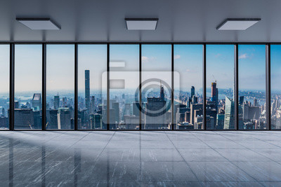 Fototapeta Frontowego widoku nowożytny pusty biuro z panoramicznego linia horyzontu widoku jaskrawym światłem dziennym - 3D ilustracja