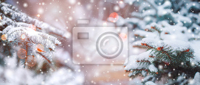 Fototapeta Frosty winter landscape in snowy forest. Christmas background with fir trees and blurred background of winter.
