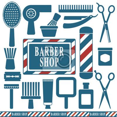 Fryzjer i fryzjer ikony zestaw 1, sylwetka