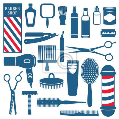 Fryzjer i fryzjer zestaw ikon związanych