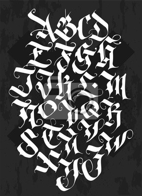 Fototapeta Full alphabet in the Gothic style. Vector. Letters and symbols on a black background. Calligraphy and lettering. Medieval Latin letters. Individual letters. Elegant font for your project