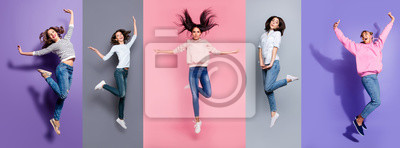 Fototapeta Full length body size view five different nice dreamy lovely attractive charming positive thin slim people having fun isolated over pastel pink violet purple grey background