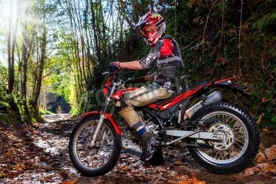 Fototapeta Full length portrait of motocross rider sitting on motorbike in woods.