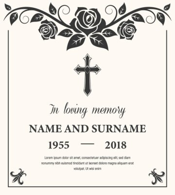 Fototapeta Funeral card vector template, condolence flower ornament with cross, name, birth and death dates. Obituary memorial, gravestone engraving with fleur de lis symbols in corners, vintage funeral card