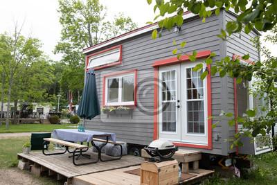 Fototapeta Funky dziewczyna pokazuje jej DIY Tiny Home