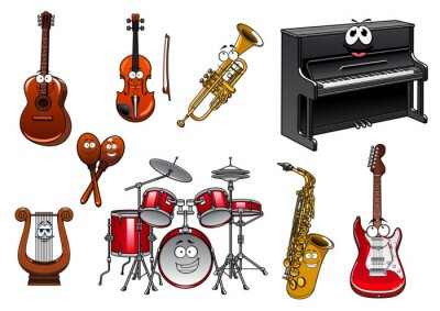 Fototapeta Funny Cartoon Characters instrumenty muzyczne