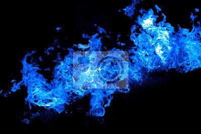 Fototapeta Fuoco Fiamme blu isolato su sfondo nero