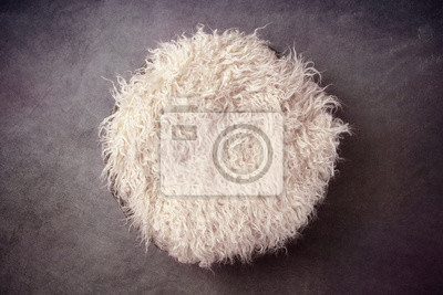 Fototapeta Fur in a Basket and Vignetted Newborn Backdrop for Photographers with a Single Light Setup
