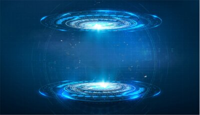 Fototapeta Futuristic circle vector HUD, GUI, UI interface screen design. Abstract style on blue background. Blank display, stage or podium for show product in futuristic cyberpunk style.Technology demonstration