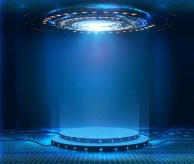 Fototapeta Futuristic empty stage. Modern Future background technology Sci-fi interior concept. Podium for show your product. futuristic cyberpunk concept. Circle presentation podium template for UI, UX, KIT,GUI
