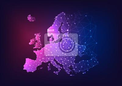 Fototapeta Futuristic glowing low polygonal Europe continent map on dark blue and purple background.