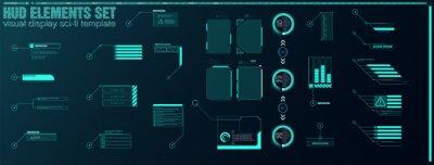 Fototapeta Futuristic Vector HUD Interface Screen Design. Digital callouts titles. HUD UI GUI futuristic user interface screen elements set. High tech screen for video game. Sci-fi concept design.