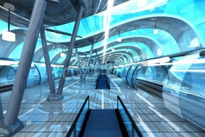 Fototapeta Futurystyczna stacja metra lub pociągiem. Architektura wizualizacji 3D.