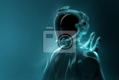 Fototapeta Futurystyczny kosmita - zaawansowana technologia. Portret młodego dorosłego w pełnym wyposażeniu eksploracji kosmosu. Ilustracja 3D.