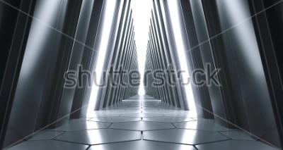 Fototapeta Futurystyczny Realistyczny Duży Sci-FI korytarz Z światłami białymi I odbiciami. Renderowanie 3D