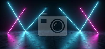 Fototapeta Futurystyczny Sci Fi Niebieski i fioletowy Neon Tube Światła świecące w betonowej podłodze pokoju z Refelctions Puste miejsce renderowania 3D