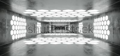 Fototapeta Futurystyczny statek kosmiczny Sci Fi Grunge Betonowy tunel pusty z białymi świecącymi światłami w kształcie sześciokąta z czarnym ciemnym końcem Ilustracja renderowania 3D