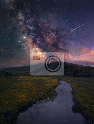 Galaktyka Drogi Mlecznej i piękny krajobraz. Armenia