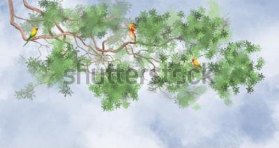 Fototapeta Gałąź drzewa na górze. Z tropikalnymi ptakami na tle nieba