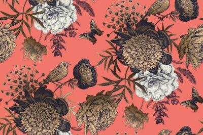 Fototapeta Garden flowers peonies on a coral background. Luxury seamless pattern.