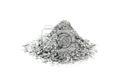 Fototapeta garść proszku srebra na białym tle