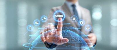 Fototapeta GDPR General data protection regulation european information privacy law. Businessman pressing button on screen