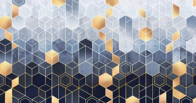 Fototapeta Geometric abstraction of hexagons on a blue relief background with gold elements. Fresco for interior printing, Wallpapers. Mural art.