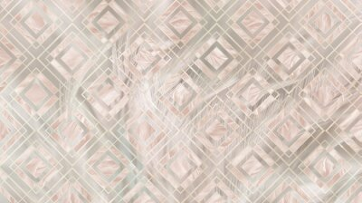 Fototapeta Geometric abstraction of light feathers in a soft beige color. For interior printing.