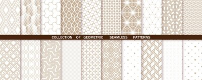 Fototapeta Geometric set of seamless beige and white patterns. Simple vector graphics