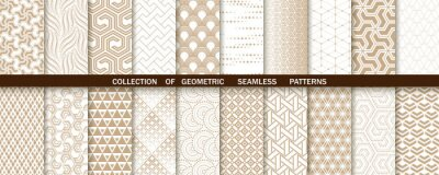 Fototapeta Geometric set of seamless gold and white patterns. Simple vector graphics