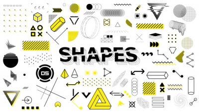 Fototapeta Geometric sign, shapes, elements in memphis style. Universal graphics design elements, trendy retrofuturism shapes in minimal style. Geometric shapes and trending abstract elements. Vector set