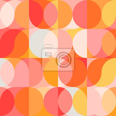 Fototapeta Geometric vector seamless pattern with circle shapes in pastel colors. Modern mosaic background in retro style.