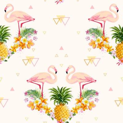 Fototapeta Geometryczne ananasowy i Flamingo Tło - bez szwu