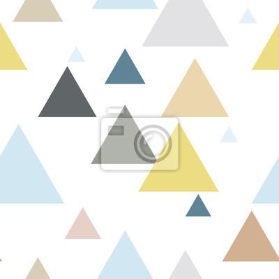 Geometryczny trójkąt bez szwu powtarzać wzór w kolorze niebieskim, żółtym, brązowym, szarym. Skandynawski styl.