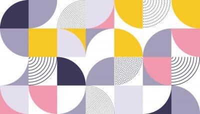 Fototapeta Geometryczny wzór tło z skandynawskim streszczenie lub szwajcarski geometrii wydruków prostokąty, kwadraty i koła kształt projektu
