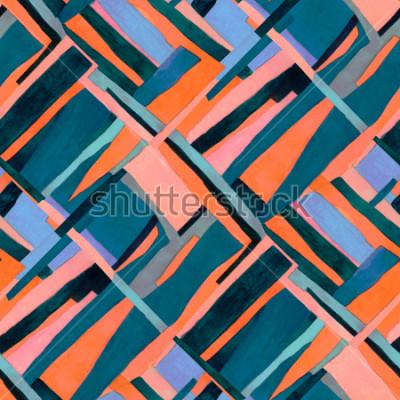 Fototapeta Geometryczny wzór z multicolor paski i romb teach. Modny współczesny abstrakcjonistyczny tło.