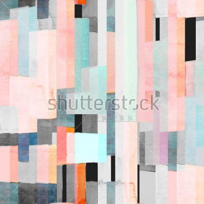 Fototapeta Geometryczny wzór z wielokolorowymi paskami i turkusowy. Modny stosuje tło.