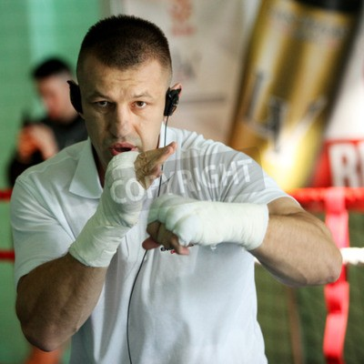 Fototapeta GILOWICE, POLAND - OCT 30, 2014: Tomasz Adamek Polish professional heavyweight boxer during the training before the following boxing-fight. He is a former WBC Light Heavyweight Champion and former IBF