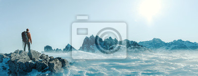 Fototapeta Gipfel - Bergsteiger- Freiheit
