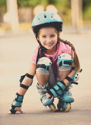 Fototapeta girl on roller skates