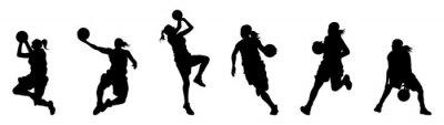 Fototapeta girl playing basketball silhouette collection