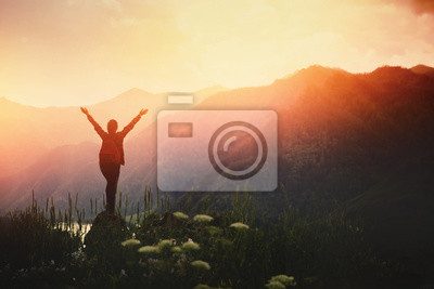 Fototapeta Girl traveler with backpack hiking. Concept travel, lifestyle adventure active summer vacations outdoor rocky background mountains