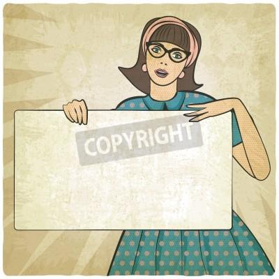 Fototapeta girl with banner in retro style - vector illustration
