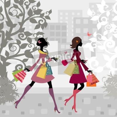 Fototapeta Girls spaceru po mieście z zakupów