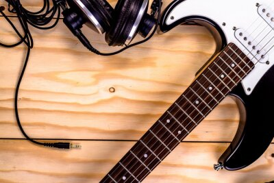Fototapeta gitara elektryczna na tle drewniane