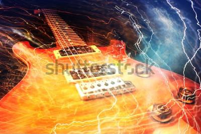 Fototapeta Gitara elektryczna otoczona błyskawicami