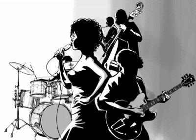 Gitara wokalista jazzowy saksofon i odtwarzacz kontrabasu