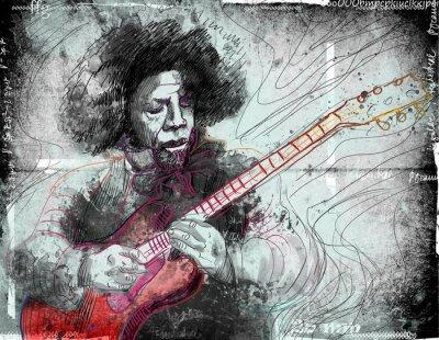 Fototapeta gitarzysta - ręcznie rysowane ilustracji grunge