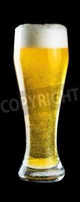 Fototapeta Glass of cold beer on black